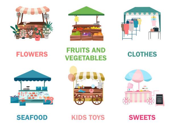 illustrazioni stock, clip art, cartoni animati e icone di tendenza di le illustrazioni delle bancarelle del mercato di strada - bancarella