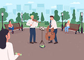 Street music band flat color vector illustration. Violin and cello players earn money. Musical instrument concert outdoor. Classical musicians 2D cartoon characters with urban park on background