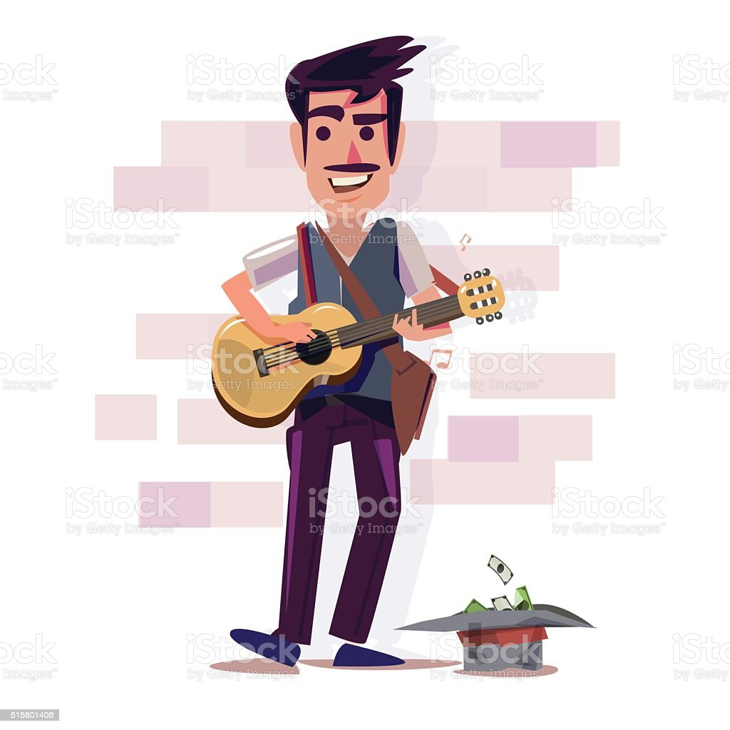 street musician playing guitar. character design - vector vector art illustration
