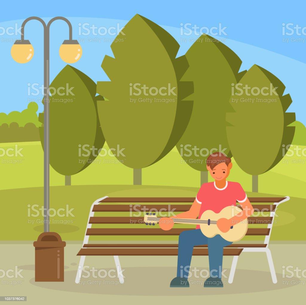 Street musician playing guitar vector flat illustration vector art illustration