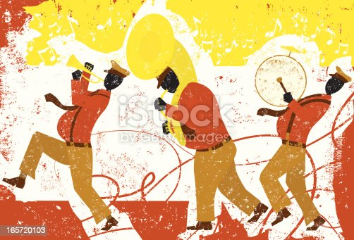 A walking band with a trumpet player, tuba player, and bass drum player over a decorative grunge background. The artwork extends outside the square clipping mask. To edit, select the artwork and go to OBJECT-> CLIPPING MASK-> EDIT CONTENTS or RELEASE.