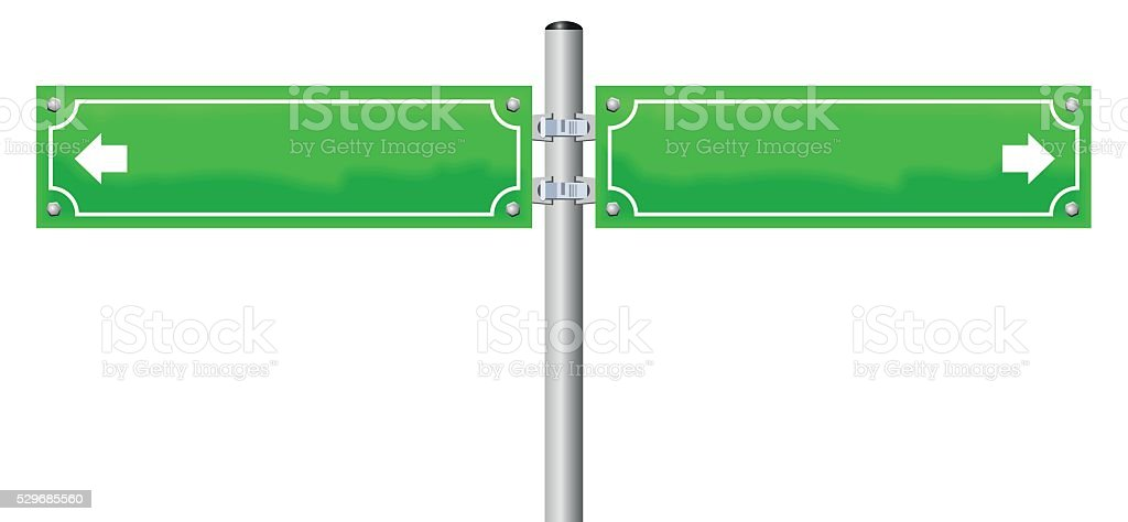 Street Name Signs Two Green vector art illustration