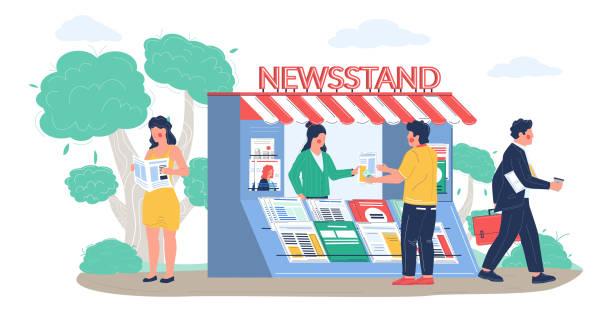 stockillustraties, clipart, cartoons en iconen met de kiosk van de straat met verkoopster, mensen die lezende kranten en tijdschriften, vector vlakke illustratie kopen - woman home magazine