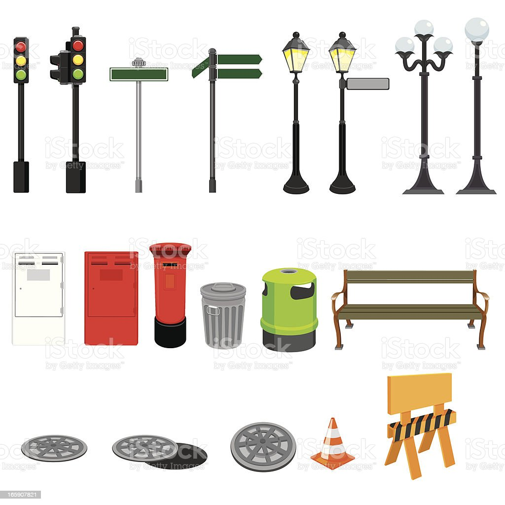 Street Objects vector art illustration
