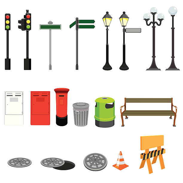 stockillustraties, clipart, cartoons en iconen met street objects - straatlamp