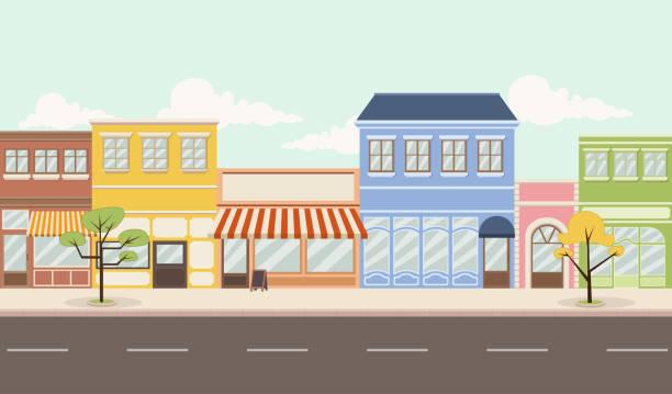улица красочного города - деловой центр города stock illustrations