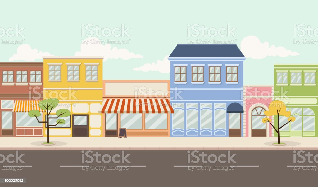 Street of a colorful city vector art illustration