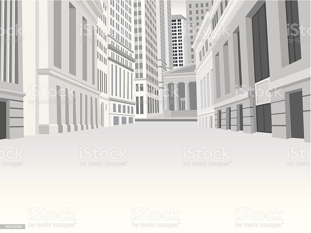 Street of downtown financial district in New York vector art illustration