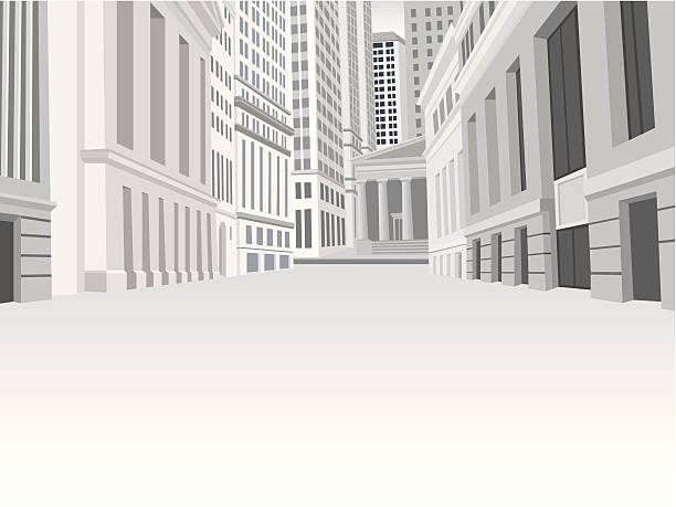 Street of downtown financial district in New York Street of downtown financial district in New York. EPS 10. wall street stock illustrations
