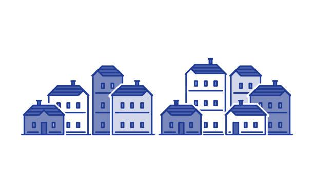 illustrazioni stock, clip art, cartoni animati e icone di tendenza di street of houses, old town, residential district, real estate vector illustration - real life