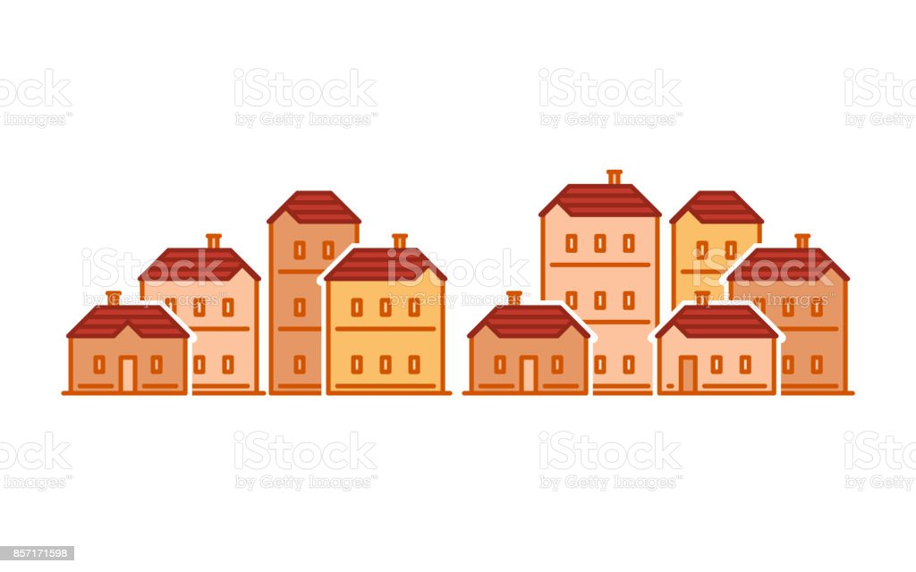 Street of houses, old town, residential district, real estate vector illustration vector art illustration