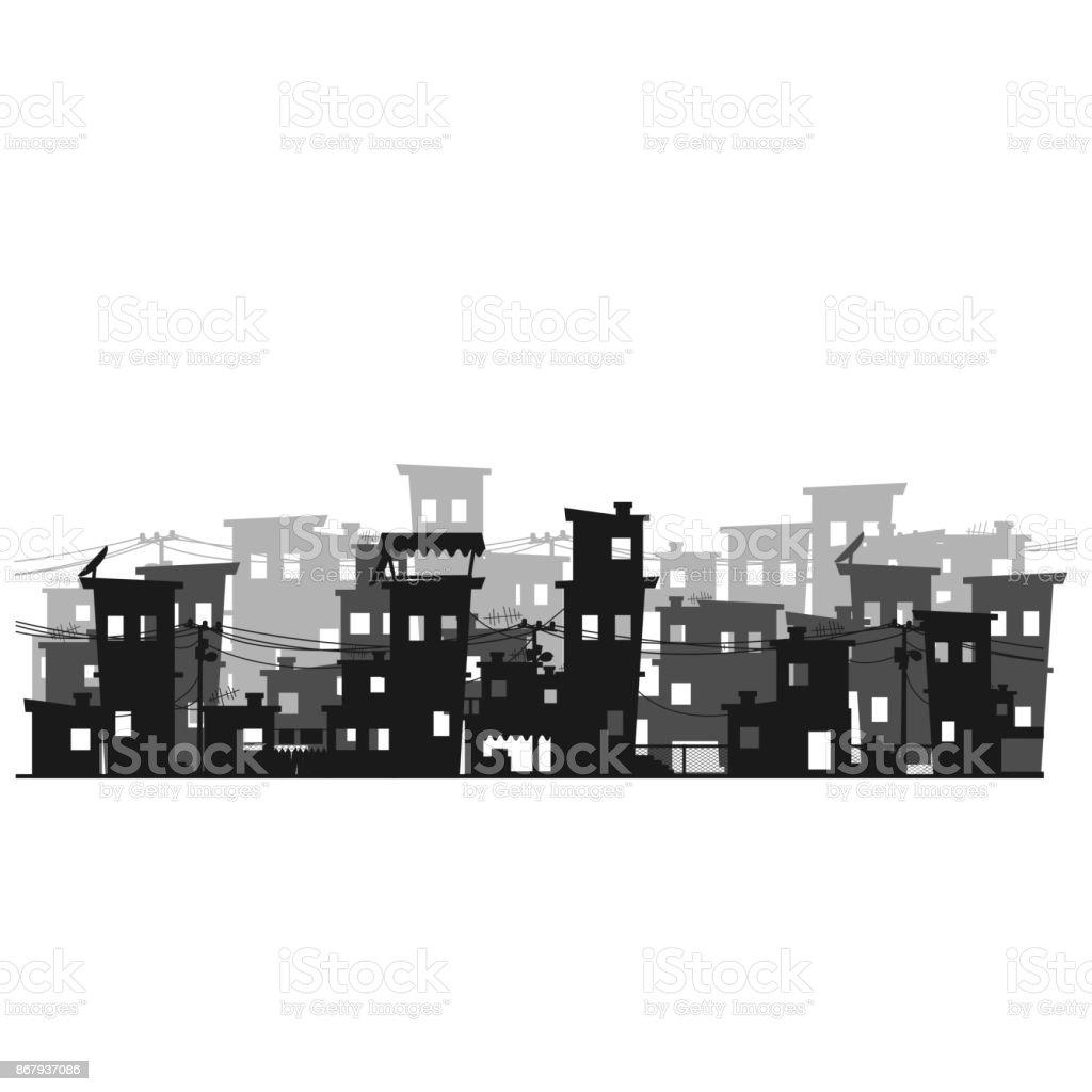 Street of poor neighborhood in the city. Slum vector art illustration