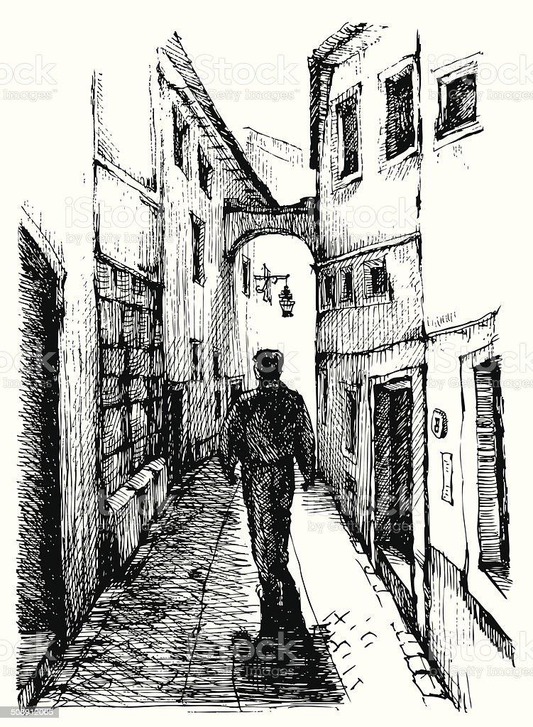 Rua de Portugal - ilustração de arte vetorial