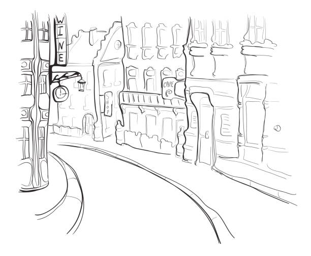 Street of the old town. Vector illustration in sketch style. Street of the old town. Vector illustration in sketch style, isolated on white background. paris black and white stock illustrations