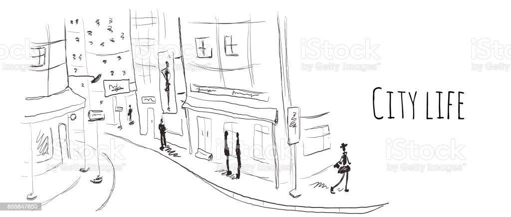 Street of the old town. Vector illustration in sketch style. vector art illustration