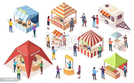 Street or fast, junk food tents. Set of isometric counters and stall, van or wagon, awning and canopy. Coffee, burger, ice-cream, pizza, fruit, hot-dog, sushi, juice, burger. Vector people buying meal