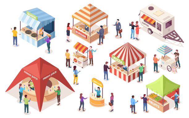 street or fast, junk food tents. set of isometric counters and stall, van or wagon, awning and canopy. coffee, burger, ice-cream, pizza, fruit, hot-dog, sushi, juice, burger. vector people buying meal - sushi stock illustrations