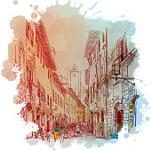 Street panorama in San Gimignano, Italy. Vintage design. Linear sketch on a watercolor textured background. EPS10 vector illustration