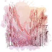 Street panorama in San Gimignano, Italy. Linear sketch on a watercolor textured background. Vintage design in soft pastel colors. EPS10 vector illustration