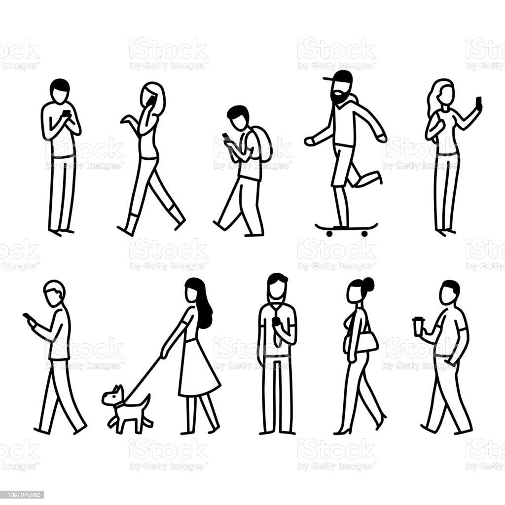 Street people walking set royalty-free street people walking set stock illustration - download image now