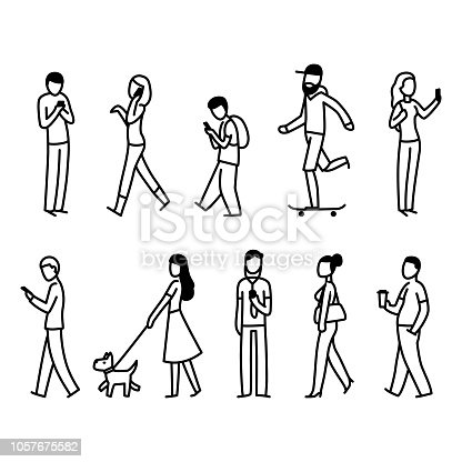 Diverse set of people walking in city street. Simple black and white doodle of pedestrians. Isolated vector illustration.