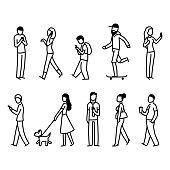 Street people walking set