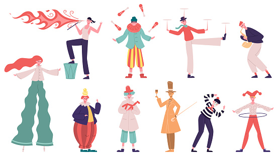 Street performance artists. Festival performing show characters, juggler, fakir and living statue. Artistic street performance vector illustration set