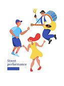Street performance. Street musician. Vector illustration.