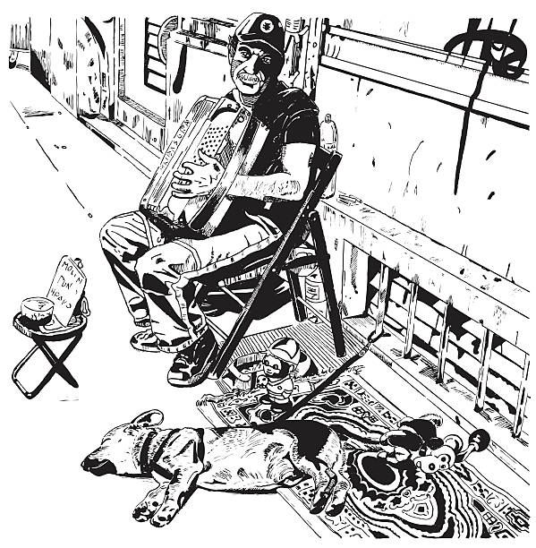 street player and his dog - old man sleeping drawing stock illustrations, clip art, cartoons, & icons