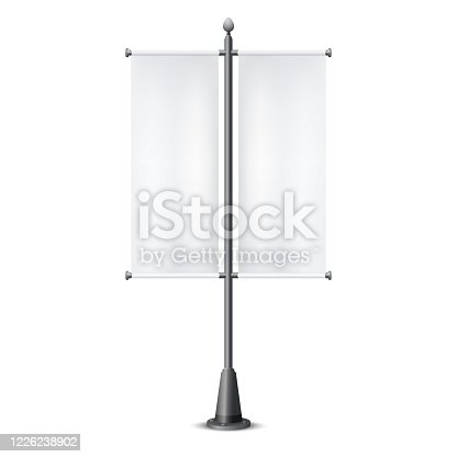 Street pole with black and white advertising flags isolated on a white backgound