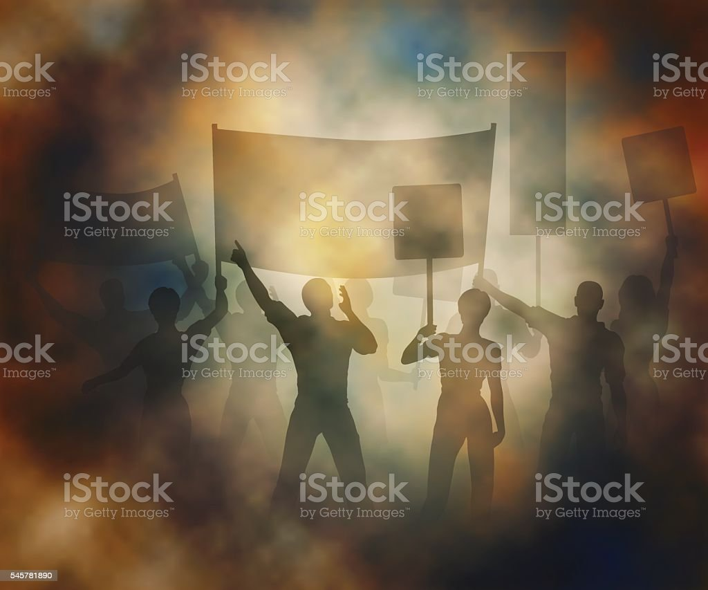 Street protest vector art illustration