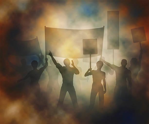 Street protest vector art illustration