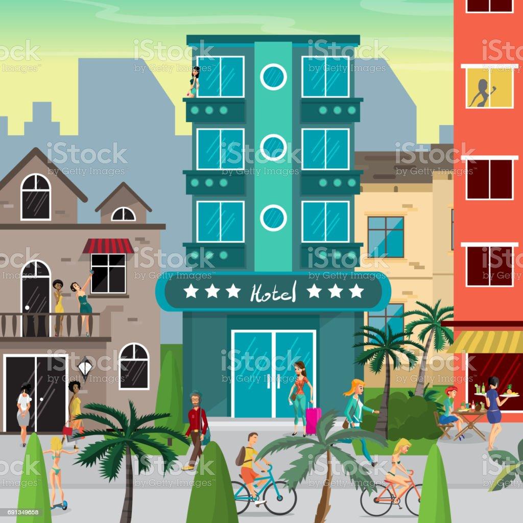Street resort town in the evening vector art illustration