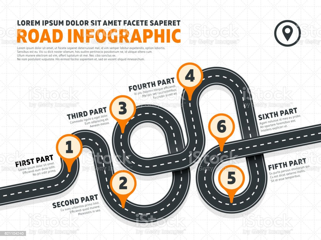 Street, road business marketing vector infographics template with pin signs vector art illustration