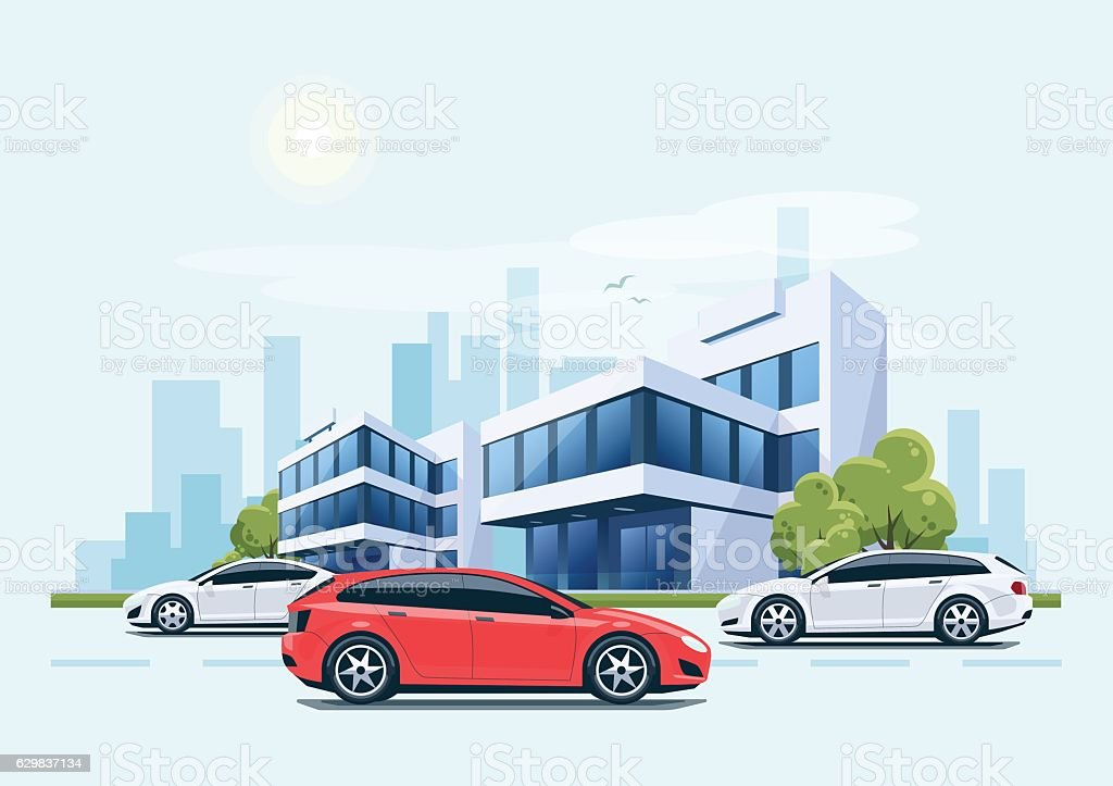 Street Road Cars with Office Buildings and City Background vector art illustration