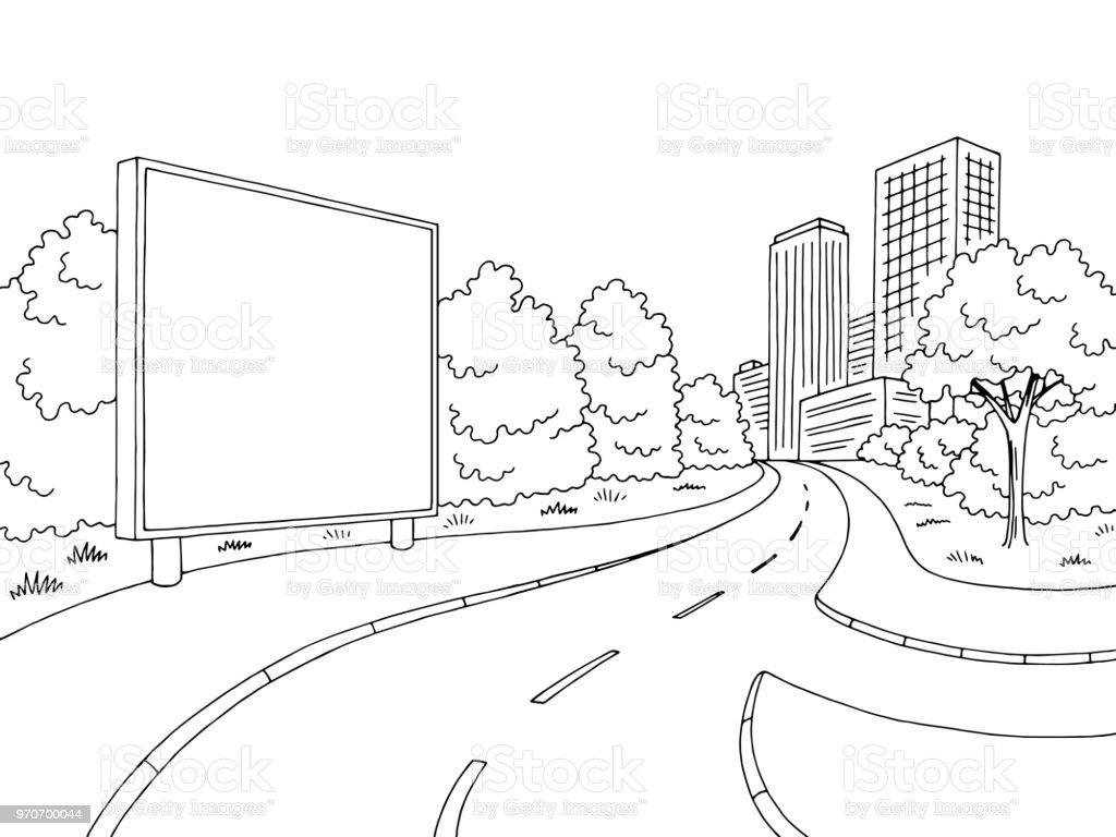 Dessin De Route rue route graphique anglosaxon blanc noir ville paysage dessin