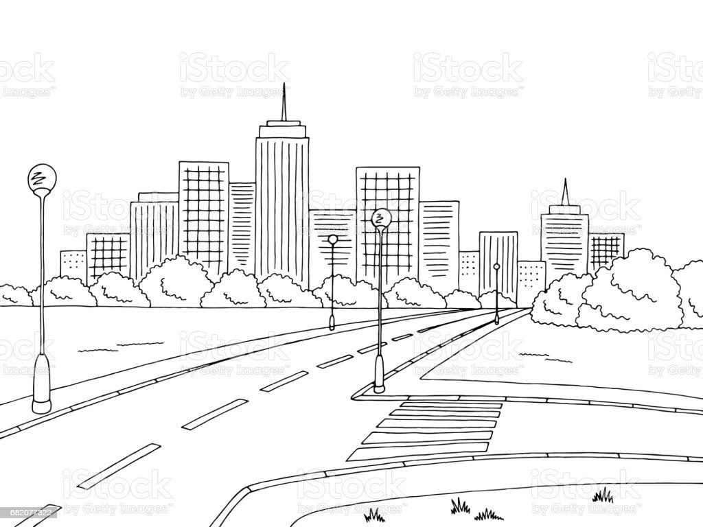 Town Landscape Vector Illustration: Street Road Graphic Black White City Landscape Sketch