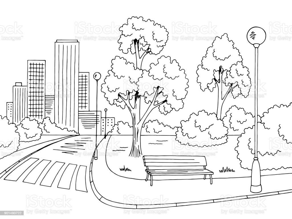 Rue route ville blanche noir graphique paysage esquisse illustration vecteur - Illustration vectorielle