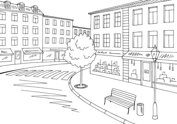 straße straße grafik schwarz weiße stadt landschaft skizze abbildung vektor - lampenshop stock-grafiken, -clipart, -cartoons und -symbole
