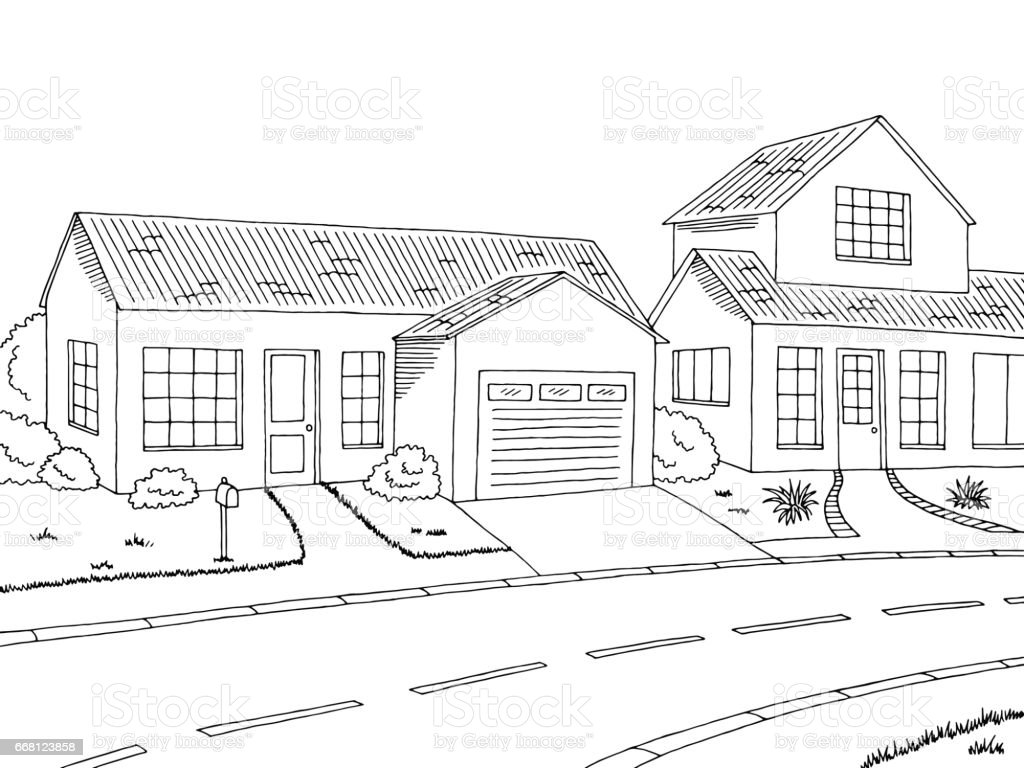 Street Road Graphic Black White Landscape Sketch Illustration Vector Royalty Free