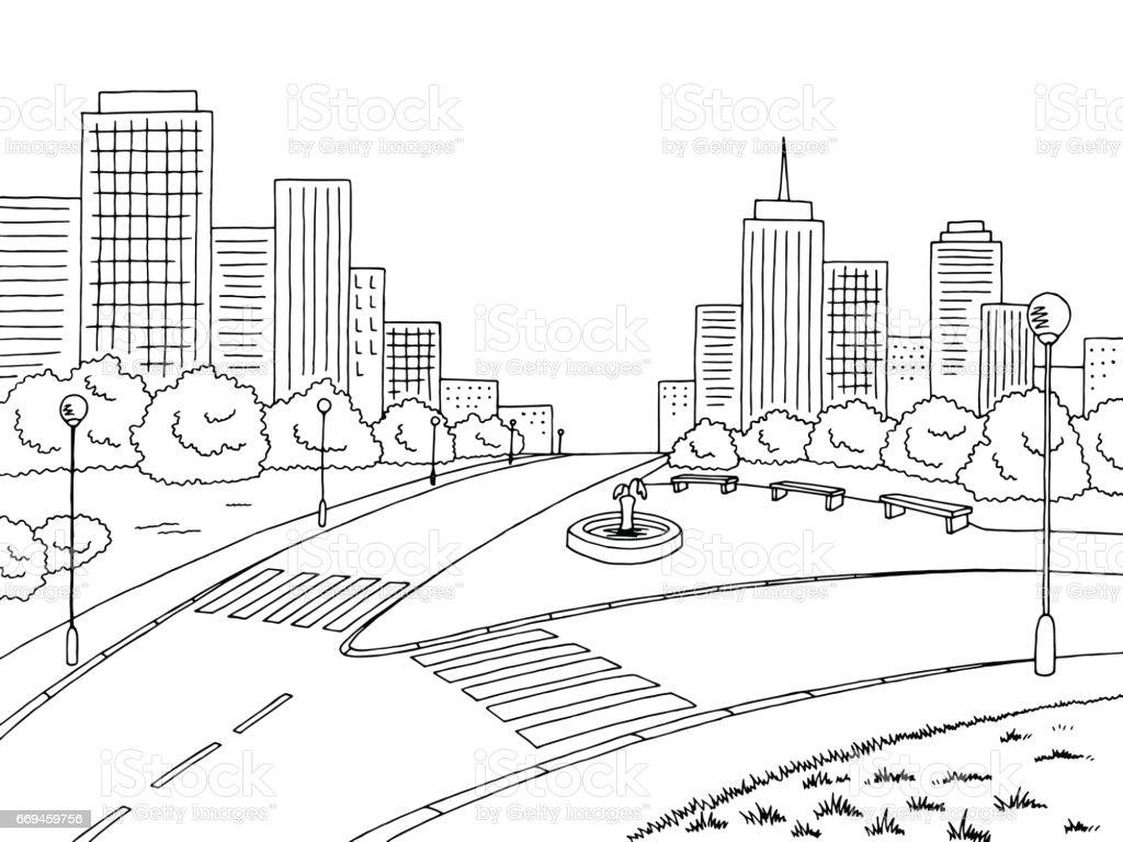 Town Landscape Vector Illustration: Street Road Graphic Black White Landscape Sketch