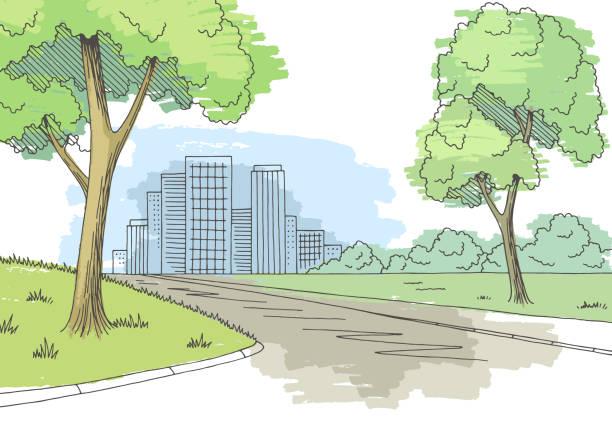 stockillustraties, clipart, cartoons en iconen met straat weg grafische kleur stad landschap schets illustratie vector - stoep