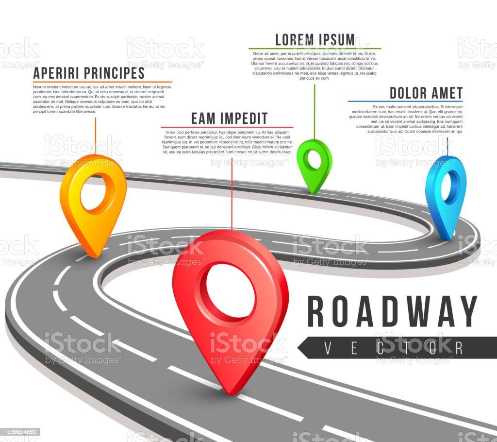 Rua mapa de estrada para negócios de vetor infográfico projeto - ilustração de arte em vetor