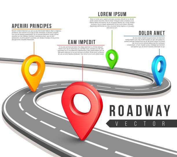Rue route carte de vecteur de conception infographie affaires - Illustration vectorielle