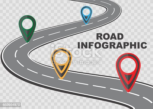 Street road map on checkered background ,business infographics with colorful pin pointer, vector illustration.