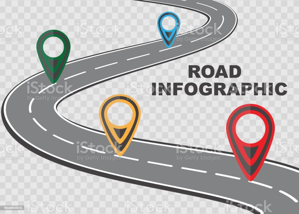 Street road map on checkered background ,business infographics with colorful pin pointer, vector illustration vector art illustration