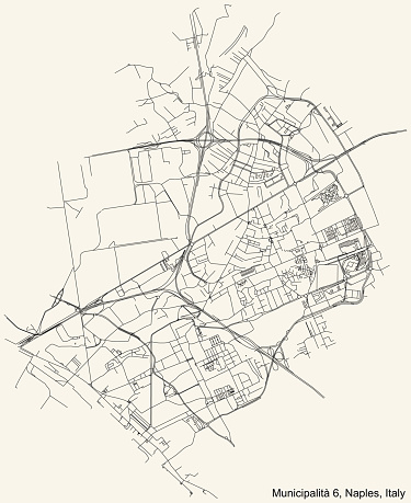 Street roads map of the 6th municipality (Barra, Ponticelli, San Giovanni a Teduccio) of Naples, Italy