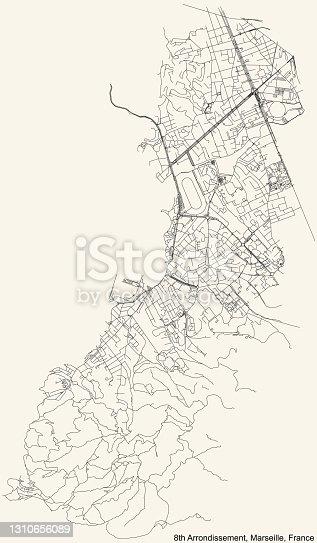 istock Street roads map of the 8th Arrondissement (Bonneveine, Les Goudes, Montredon, Perier, La Plage, La Pointe Rouge, Le Rouet, Sainte-Anne, Saint-Giniez, Vieille Chapelle) of Marseille, France 1310656089