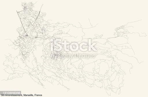 istock Street roads map of the 9th Arrondissement (Les Baumettes, Le Cabot, Carpiagne, Mazargues, La Panouse, Le Redon, Sainte-Marguerite, Sormiou, Vaufrèges) of Marseille, France 1310656056