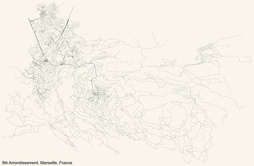 Street roads map of the 9th Arrondissement (Les Baumettes, Le Cabot, Carpiagne, Mazargues, La Panouse, Le Redon, Sainte-Marguerite, Sormiou, Vaufrèges) of Marseille, France